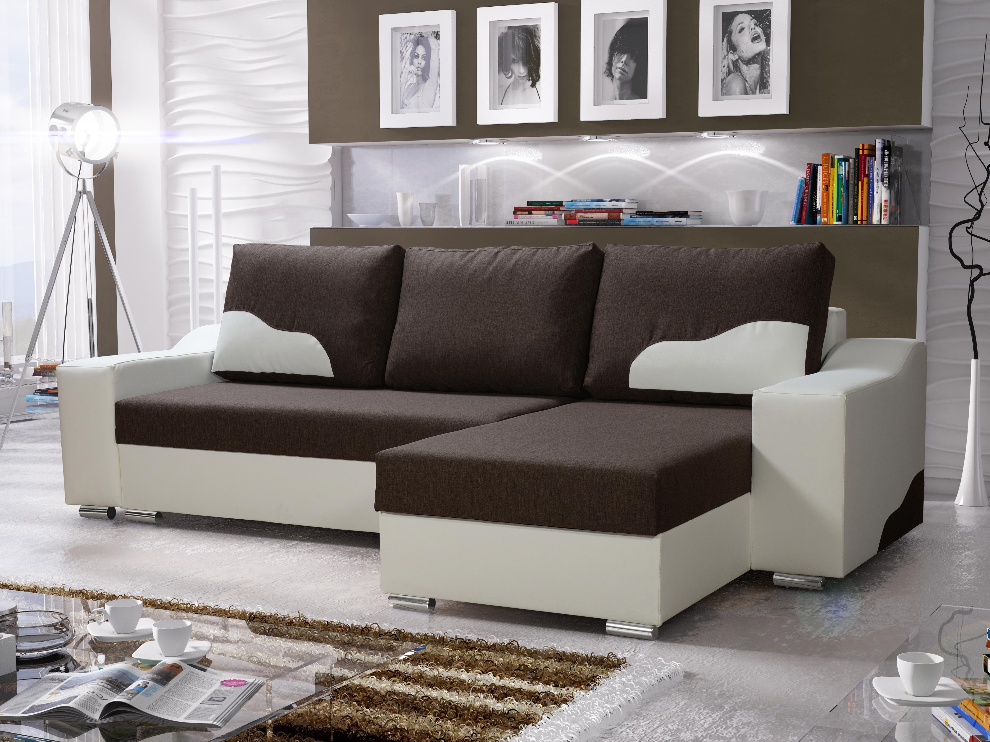 Sarok kanapé Winter (barna + fehér) (J) | Zondo.hu